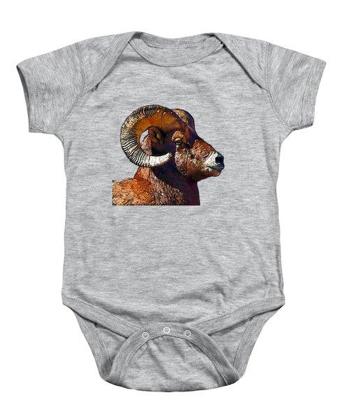 Ram Portrait - Rocky Mountain Bighorn Sheep  Baby Onesie by Lena  Owens OLena Art