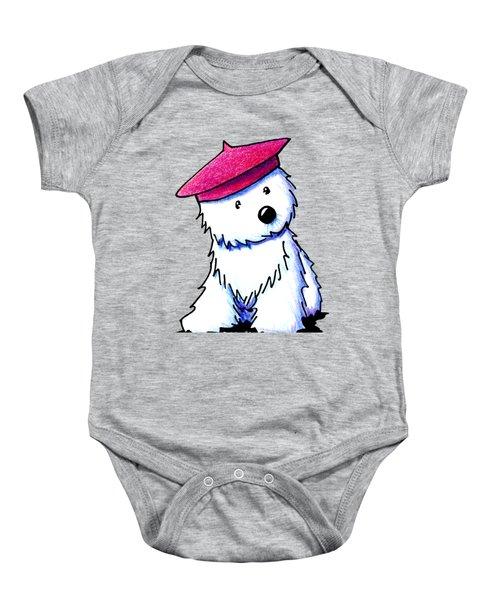 Raspberry Beret Westie Baby Onesie