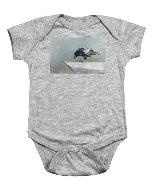Raven In Winter Baby Onesie