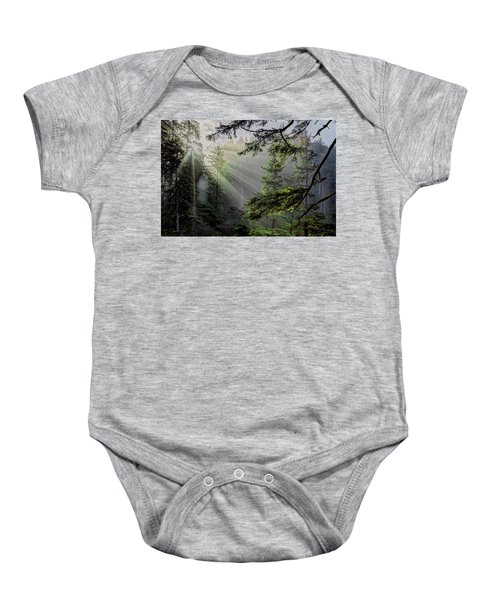 Morning Rays Through An Oregon Rain Forest Baby Onesie
