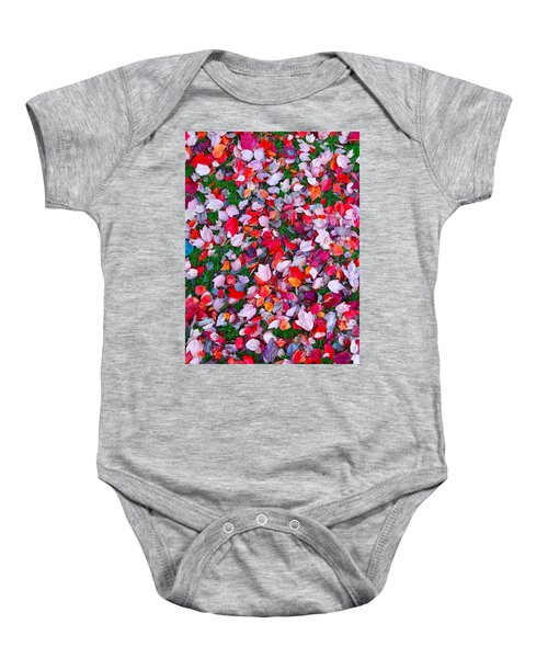 Red And Green Leaves Baby Onesie