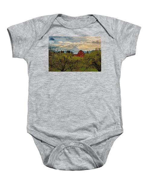 Red Barn At Pear Orchard Baby Onesie