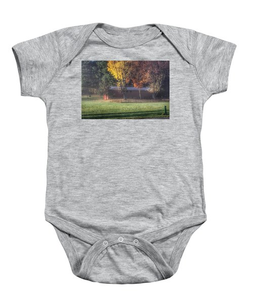 0041 - Red Barn On A Foggy Fall Morning Baby Onesie