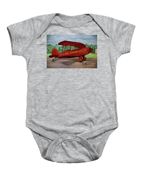Red Biplane Baby Onesie by Megan Cohen