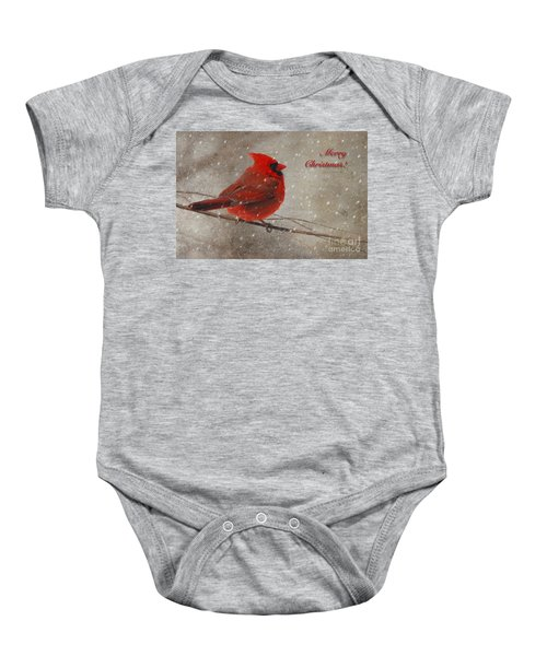 Red Bird In Snow Christmas Card Baby Onesie