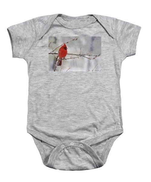 Red Bird Of Winter Baby Onesie