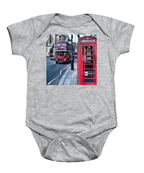 Red Bus In London  Baby Onesie