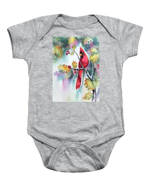 Red Cardinal With Berries Baby Onesie