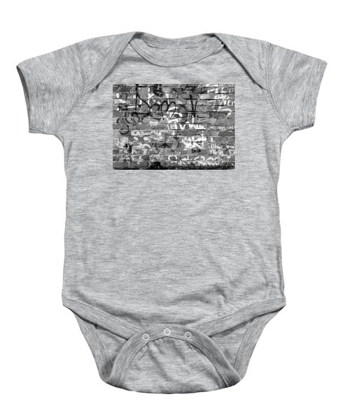 Red Construction Brick Wall And Spray Can Art Signatures Baby Onesie