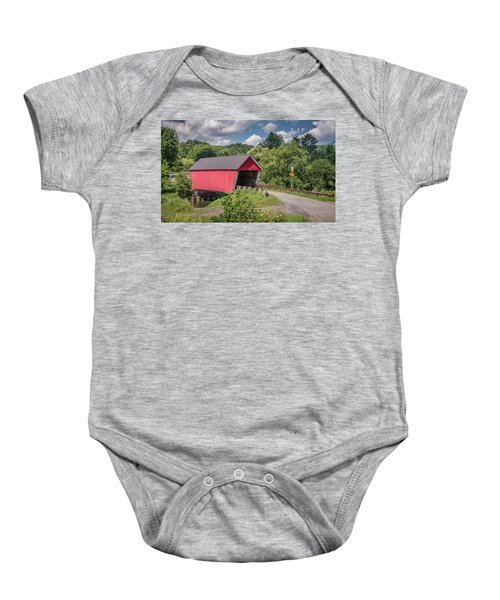 Red Covered Bridge Baby Onesie