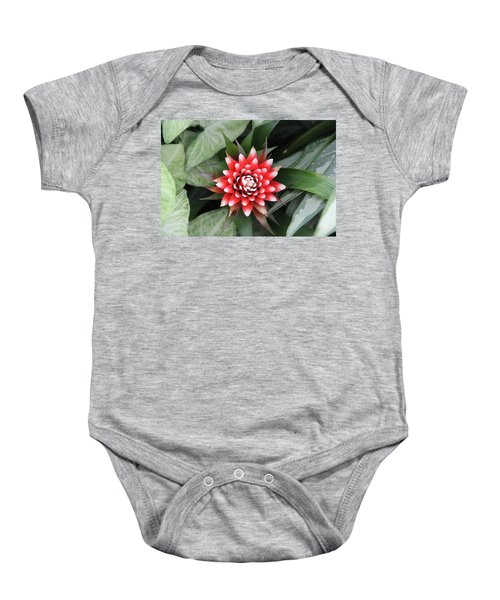 Red Flower With White Tips Baby Onesie