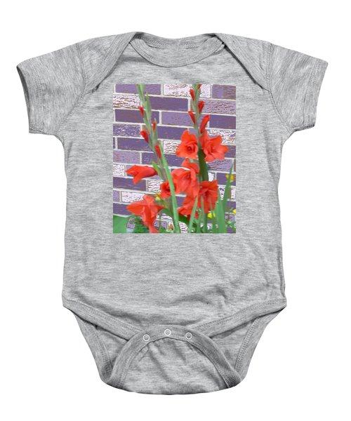 Red Gladiolas Baby Onesie