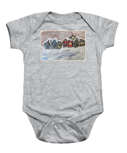 Red House In The Snow Baby Onesie