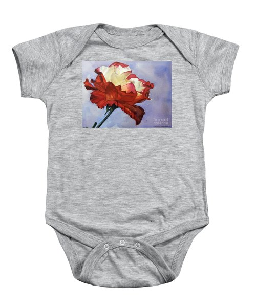 Watercolor Of A Red And White Rose On Blue Field Baby Onesie