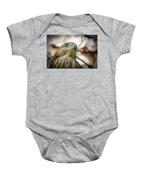 Red-shouldered Hawk Fledgling 3 Baby Onesie