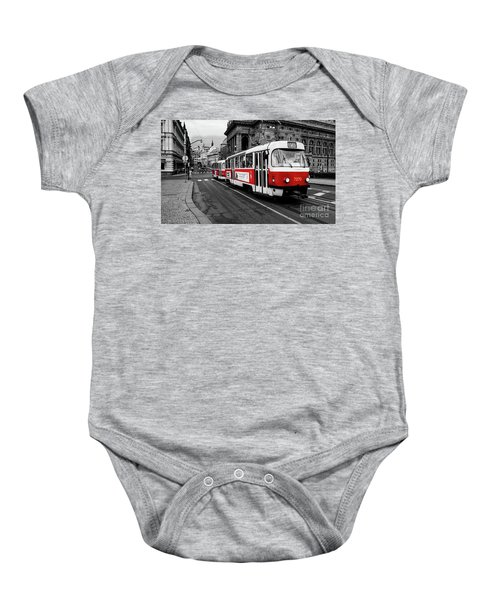 Prague - Red Tram Baby Onesie