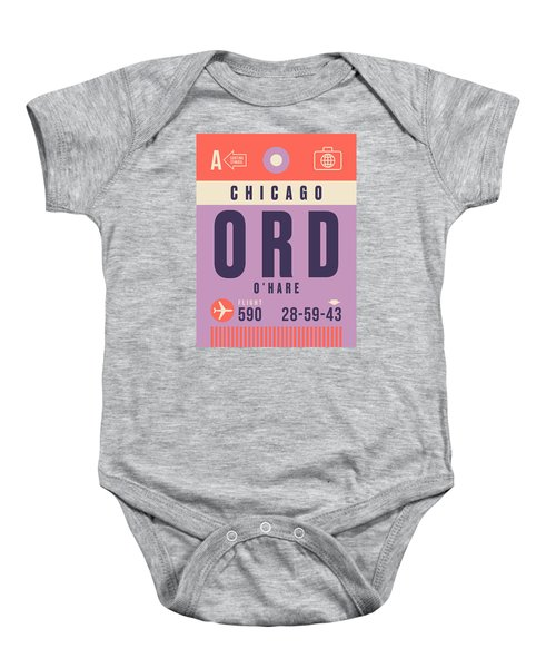 Retro Airline Luggage Tag - Ord Chicago O'hare Baby Onesie