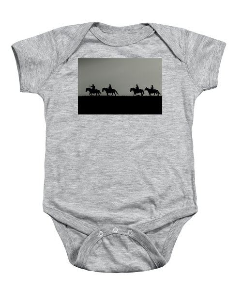 Riding The Range At Sunrise Baby Onesie