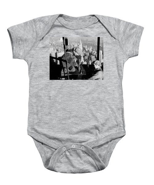 Riveters On The Empire State Building Baby Onesie by LW Hine