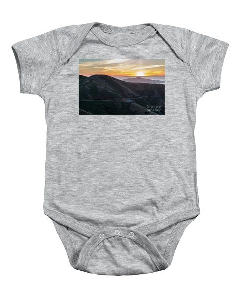 Road On The Edge Of The Mountain With Sunrise In The Background Baby Onesie