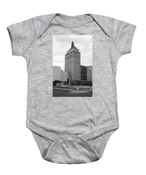 Baby Onesie featuring the photograph Rochester, Ny - Kodak Building 2005 Bw by Frank Romeo