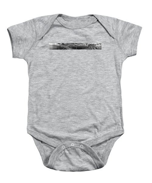 Rod And Reel Pier In Infrared Baby Onesie