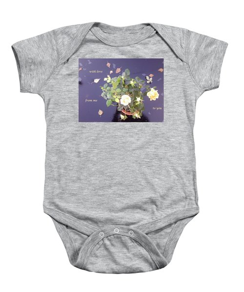Rose On Glass Table With Loving Wishes Baby Onesie