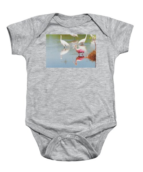 Roseate Spoonbill Eating In A Lagoon With Other Egrets Baby Onesie