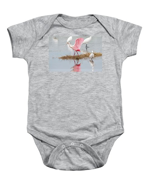 Roseate Spoonbill Flapping Wing While Looking For Food Baby Onesie
