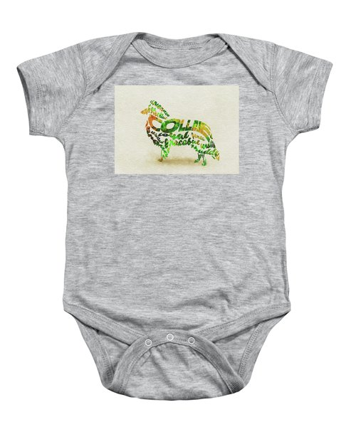 Rough Collie Watercolor Painting / Typographic Art Baby Onesie