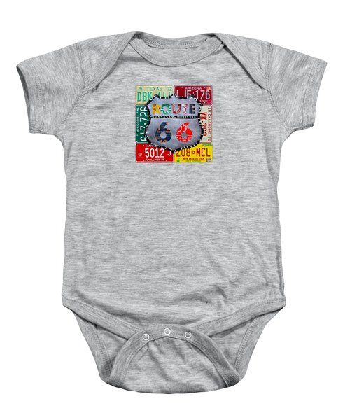Route 66 Highway Road Sign License Plate Art Baby Onesie by Design Turnpike
