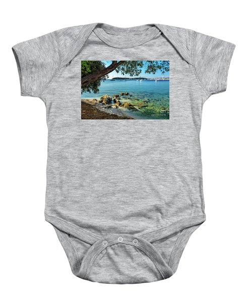 Rovinj Old Town, Harbor And Sailboats Accross The Adriatic Through The Trees Baby Onesie