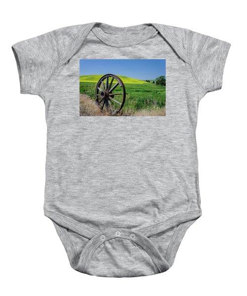 Rustic Wagon Wheel In The Palouse Baby Onesie
