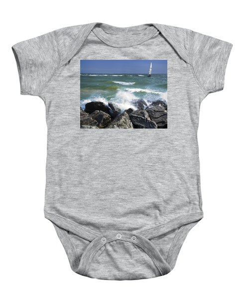 Sailboat Sailing Off The Shore At Ottawa Beach State Park Baby Onesie