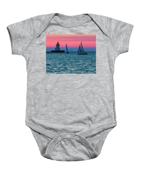 Sailing At The Cleveland Lighthouse  Baby Onesie