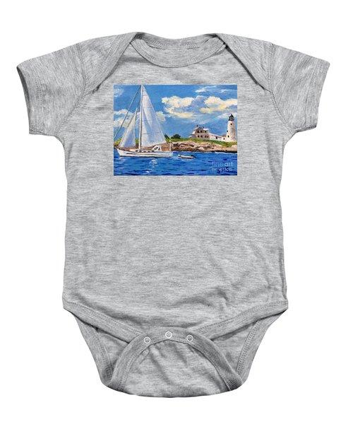 Sailing Past Wood Island Lighthouse Baby Onesie