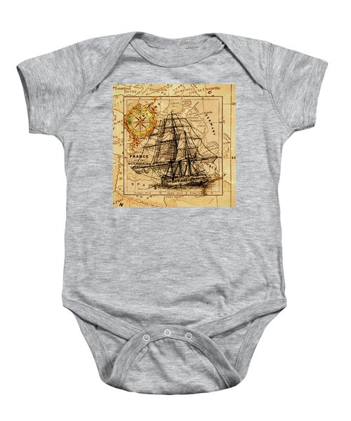 Sailing Ship Map Baby Onesie