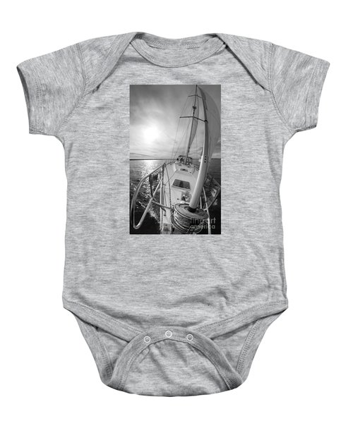 Sailing Yacht Fate Beneteau 49 Black And White Baby Onesie