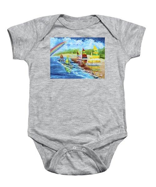 Sails On The Beach Baby Onesie