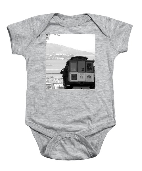 Baby Onesie featuring the photograph San Francisco Cable Car With Alcatraz by Shane Kelly