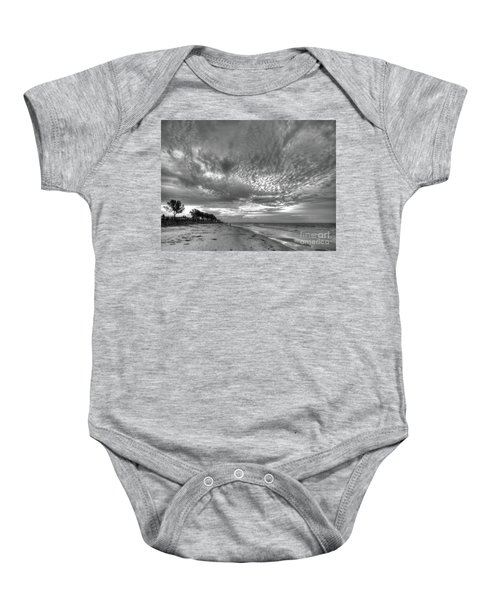 Sanibel Island Sunrise In Black And White Baby Onesie
