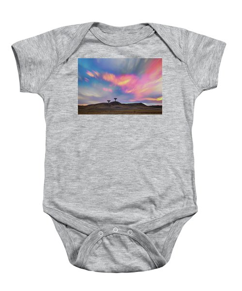Baby Onesie featuring the photograph Satellite Dishes Quiet Communications To The Skies by James BO Insogna