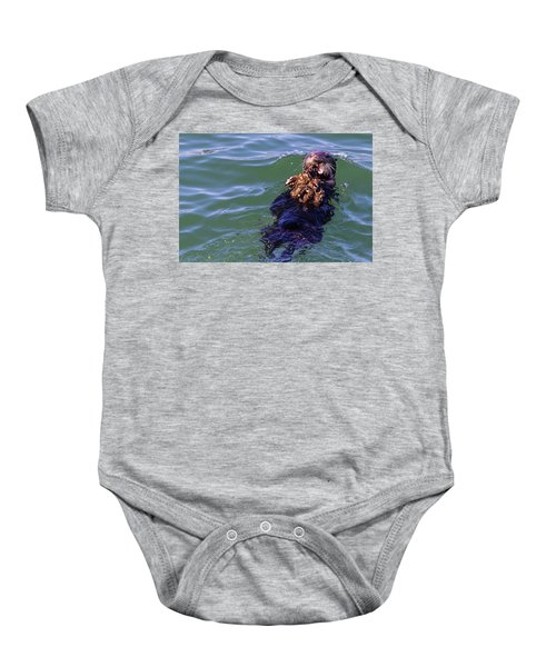 Sea Otter With Lunch Baby Onesie