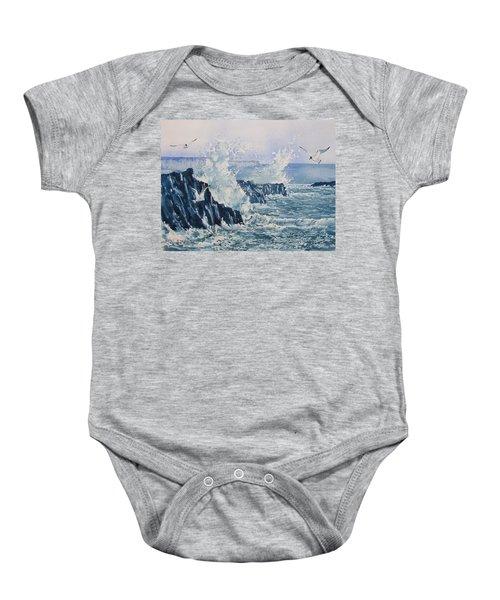 Sea, Splashes And Gulls Baby Onesie