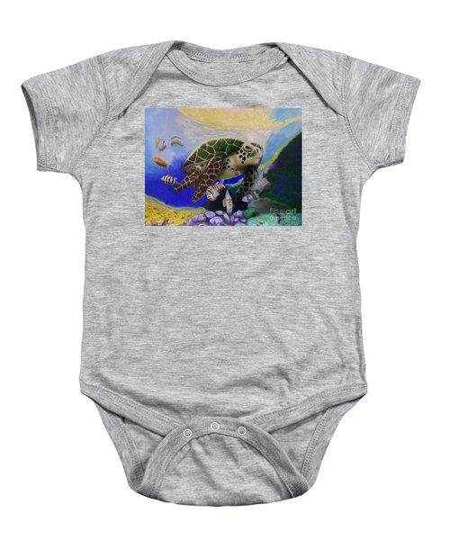 Sea Turtle Acrylic Painting Baby Onesie