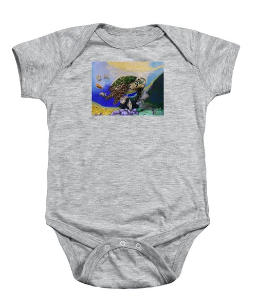 Sea Turtle Acrylic Painting Baby Onesie
