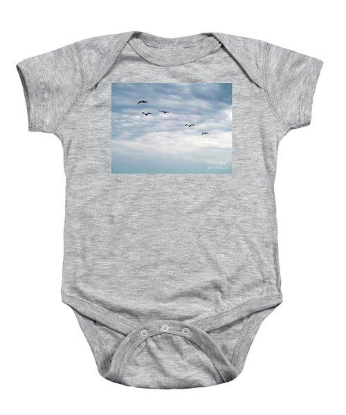 Seabirds In Flight Baby Onesie