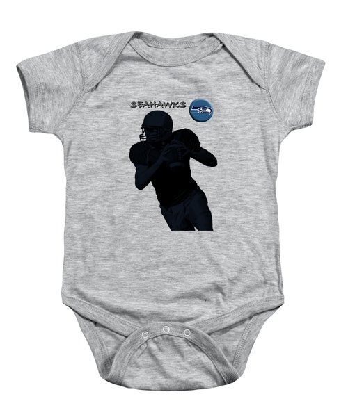 Baby Onesie featuring the digital art Seattle Seahawks Football by David Dehner