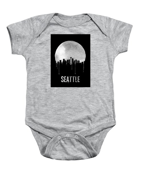 Seattle Skyline Black Baby Onesie by Naxart Studio