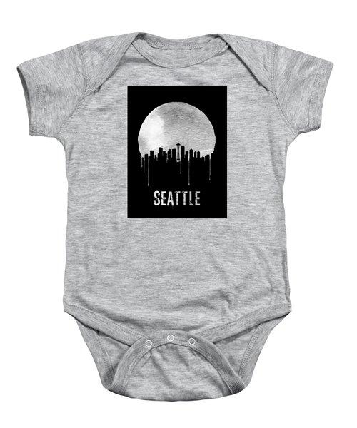 Seattle Skyline Black Baby Onesie